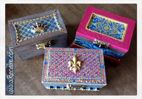 2018-03 - Racaire - largesse - swap - medieval inspired painted wood boxes - SCA