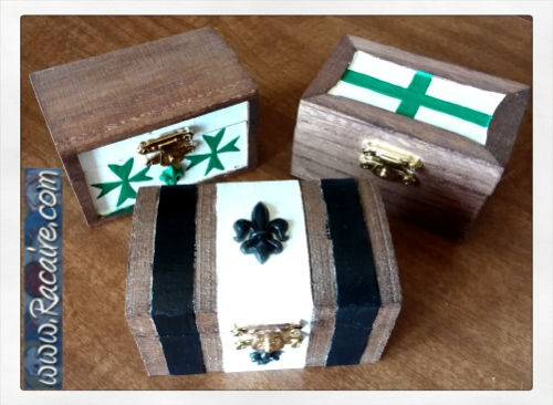2018-03 - Racaire - largesse - swap - medieval inspired painted wood boxes - SCA - Conrad vom Schwarzwald