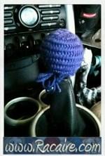 2016-12 - Racaire - Nailbinding - nailbinded cap for gear shifter - car - crazy nailbinding ideas