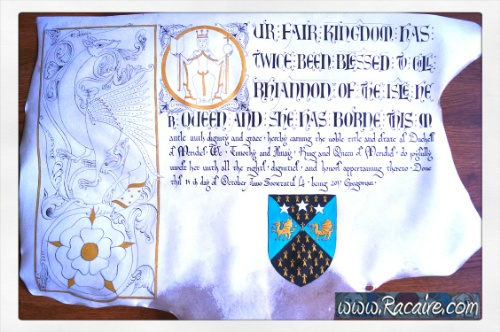 2017-09- Racaire - Duchess Rhiannon - 12th century scroll project - SCA scrolls - awards - Kingdom of Meridies - Duchess scroll
