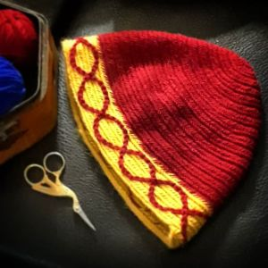 nalbinded cap - red and yellow - medium