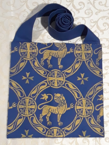 Hand printed bag with 12th century inspired lion print