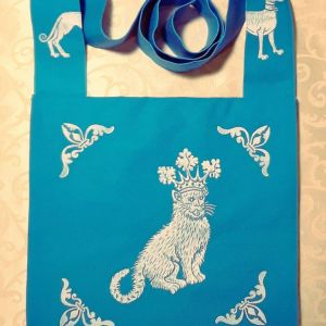 Bag made from turquoise cotton canvas, lined, printed with a hand carved 15th century inspired catking & greyhound stamp