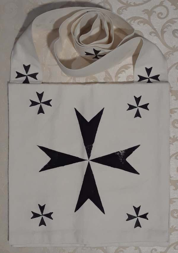 Pilgrim crusader bag with black cross print - made from heavy cotton fabric, lined, printed with hand carved cross stamp in black. Machine washable!