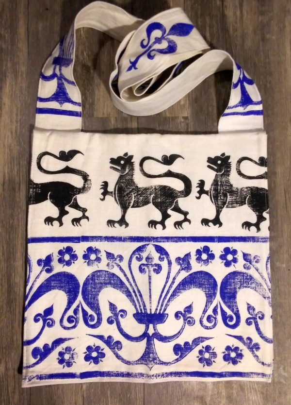 Lion bag made from white cotton fabric, lined with white cotton fabric & hand printed with hand carved 13th century lion & decorative border stamp.