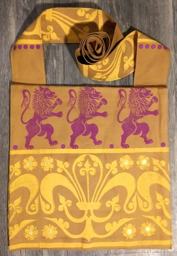 Lion bag made from brown cotton fabric, lined with white cotton fabric & hand printed with hand carved 16/17th century rampant lion & 13th century decorative border stamp.