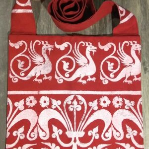 Dragon bag made from lovely red cotton canvas, lined with red cotton fabric & hand printed in white with a hand carved 13th century dragon & decorative border stamp.