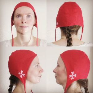 Small linen cross coif/arming cap made from red linen fabric, handprinted in white with a handcut cross stamps. Pre-washed fabric & ready to wear! Machine washable!
