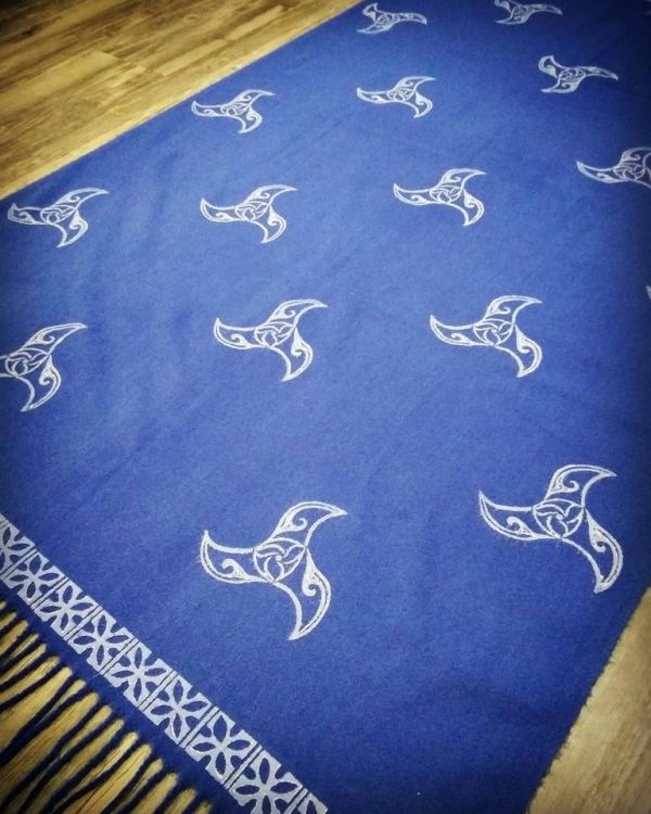 Soft & cozy blue scarf with triskele & 13th century inspired border print. Hand printed in white with my own hand carved stamps. The scarf material is new, pre-washed, ready to wear & machine washable!