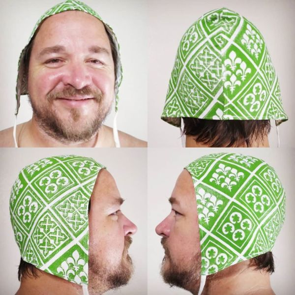 Large size 13th century pattern linen coif / arming cap made from white linen fabric and hand printed with a hand carved 13th century inspired stamp. Machine washable!