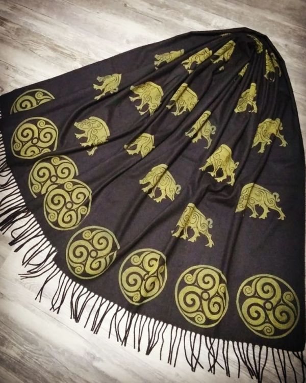 Black soft scarf with boar & triskele print. Hand printed with hand carved stamps. The boar & triskele scarf is new, pre-washed, ready to wear & machine washable!
