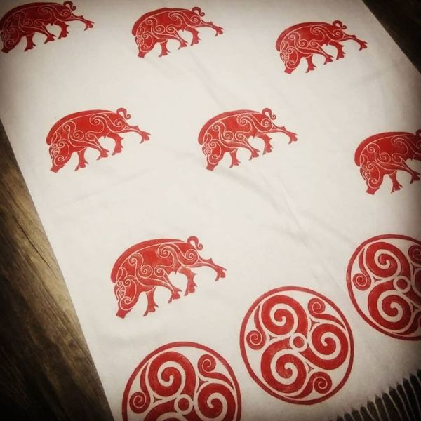 White soft scarf with boar & triskele print. Hand printed with hand carved stamps. The boar & triskele scarf is new, pre-washed, ready to wear & machine washable!