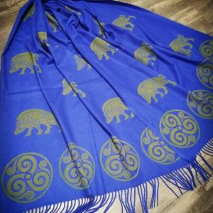 Blue soft scarf with boar & triskele print. Hand printed with hand carved stamps. The boar & triskele scarf is new, pre-washed, ready to wear & machine washable!