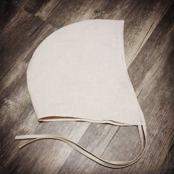 Medium natural colored linen coif / arming cap made from lovely soft 100% linen fabric. The Medium linen coif is ready to wear, it is pre-washed & machine washable!