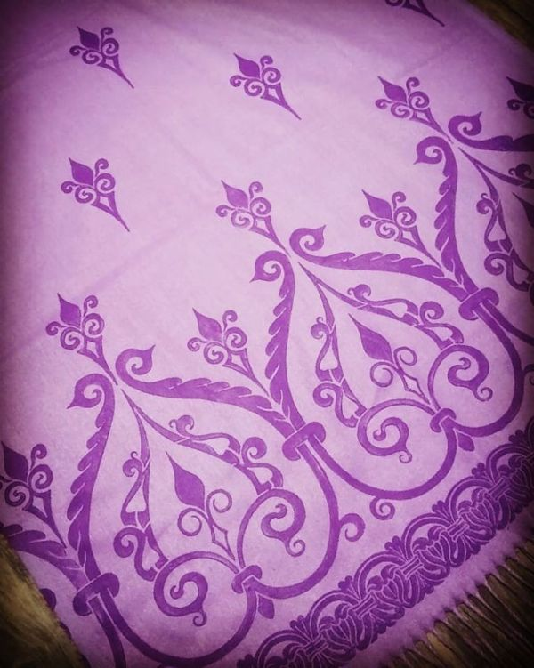 Soft, cozy & warm light purple/lavender scarf with purple 12th century print. Hand printed with my own hand carved stamps. The scarf is new, pre-washed, ready to wear & machine washable!