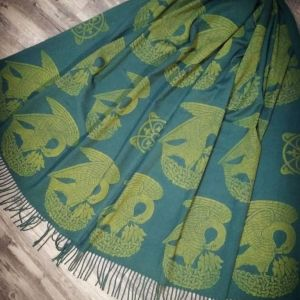 "Soft, cozy & warm ""pashmina feel"" dark green scarf with yellow 15th century pelican print. Hand printed with my own hand carved stamps. The scarf is new, pre-washed, ready to wear & machine washable!"