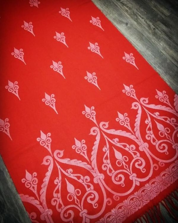 Soft, cozy & warm bright red scarf with white 12th century print. Hand printed with my own hand carved stamps. The scarf is new, pre-washed, ready to wear & machine washable!