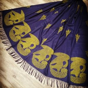 Soft, cozy & warm navy blue scarf with yellow 15th century pelican print. Hand printed with my own hand carved stamps. The scarf is new, pre-washed, ready to wear & machine washable!