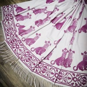 Soft, cozy & warm white scarf with magenta 15th century catking print. Hand printed with my own hand carved stamps. The scarf is new, pre-washed, ready to wear & machine washable!