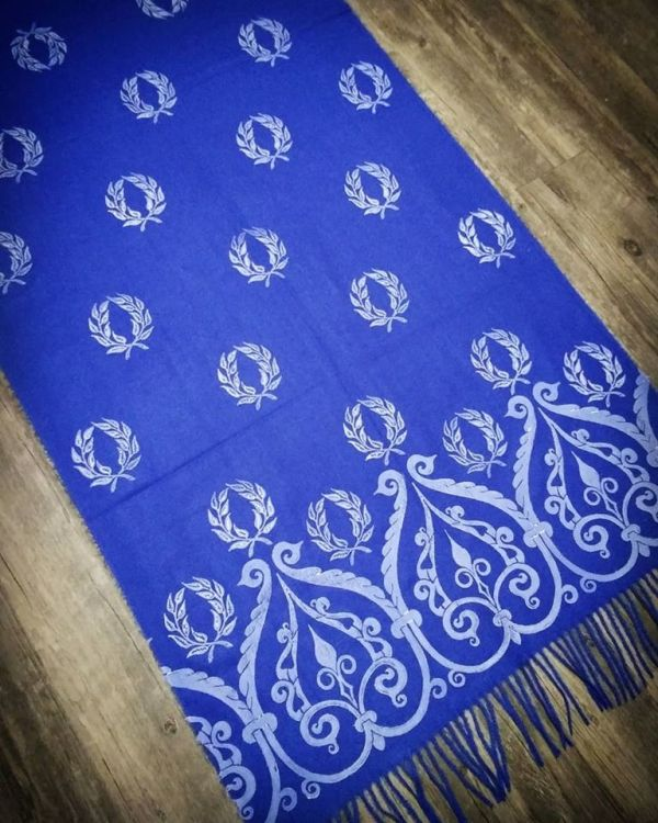 Soft, cozy & warm blue scarf with white 12th century & laurel wreath print. Hand printed with my own hand carved stamps. The scarf is new, pre-washed, ready to wear & machine washable!