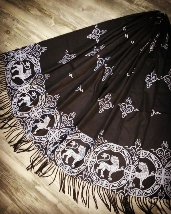 Soft, cozy & warm black scarf with white 12th century lion print. Hand printed with my own hand carved stamps. New black 'pashmina feel' scarf, pre-washed, ready to wear & machine washable!