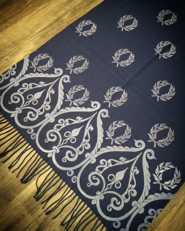 Soft, cozy & warm navy blue scarf with white 12th century & laurel wreath print. Hand printed with my own hand carved stamps. The scarf is new, pre-washed, ready to wear & machine washable!