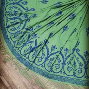 Soft, cozy & warm green scarf with blue 12th century print. Hand printed with my own hand carved stamps. New scarf, pre-washed, ready to wear & machine washable!