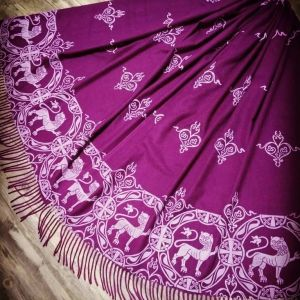 Soft, cozy & warm purple (magenta) scarf with white 12th century lion print. Hand printed with my own hand carved stamps. New scarf, pre-washed, ready to wear & machine washable!