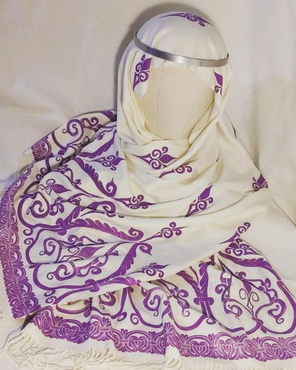 Soft, cozy & warm ivory scarf with purple 12th century print for a medieval experience all year long! Hand printed with my own hand carved stamps. The scarf is new, pre-washed, ready to wear with a wonderful drape & is machine washable!
