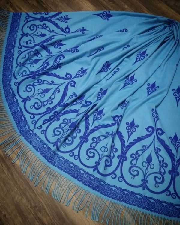 Soft, cozy & warm sky blue scarf with blue 12th century print. Hand printed with my own hand carved stamps. The scarf is new, pre-washed, ready to wear & machine washable!