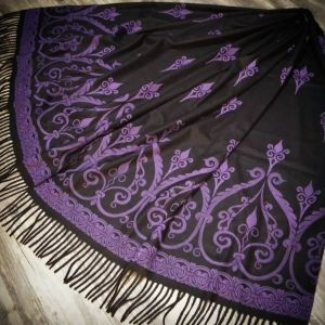 Wearable art - soft, cozy & warm black scarf with purple 12th century print. Hand printed with my own hand carved stamps for a medieval experience all year long. The scarf is new, pre-washed, ready to wear & machine washable!