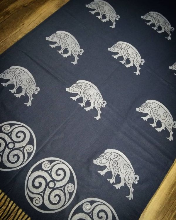 Dark blue soft scarf with white boar & triskele print. Hand printed with my own hand carved stamps. The boar & triskele scarf is new, pre-washed, ready to wear & machine washable!