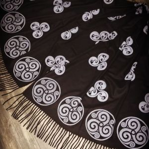 Wearable art in form of a soft & cozy black scarf with triskele print. Hand printed in white with my own hand carved stamps. New scarf, pre-washed, ready to wear & machine washable!