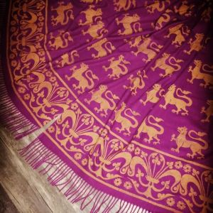 Wearable art in form of a soft & cozy purple scarf with 13th century lion & fleur-de-lis print. Hand printed in yellow with my own hand carved stamps. New scarf, pre-washed, ready to wear & machine washable!