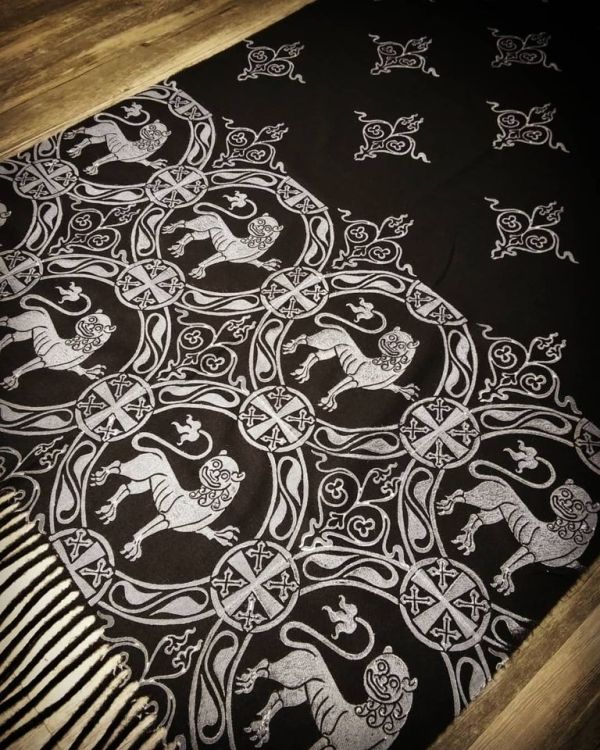 Soft, cozy & warm black scarf with white 12th century lion print for a medieval experience all year long. Hand printed with my own hand carved stamps. New scarf, pre-washed, ready to wear & machine washable!