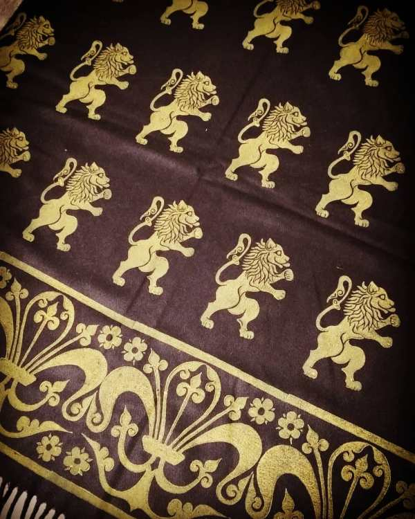 Wearable art in form of a soft & cozy black scarf with 16/17th century lion & 13th century fleur-de-lis print. Hand printed in yellow with my own hand carved stamps. New scarf, pre-washed, ready to wear & machine washable!