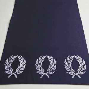 Dark blue table runner with laurel wreath print. Hand printed with my own hand carved stamps. The cotton canvas for the table runner is new, pre-washed, ready to be used & machine washable!