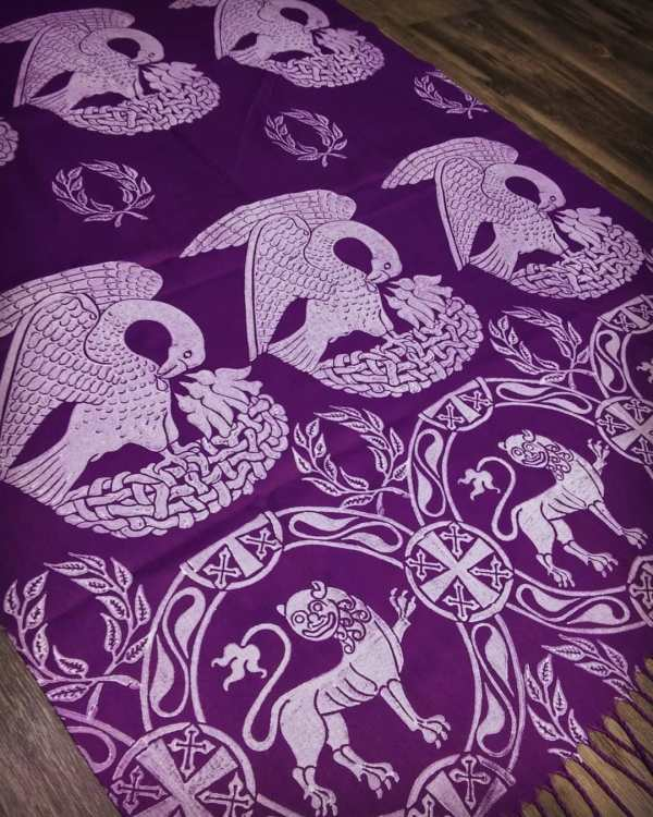 Soft light weight purple scarf with white 15th century pelican, laurel wreath & 12th century lion print for a medieval experience all year long! Hand printed with my own hand carved stamps. New scarf, pre-washed, ready to wear & machine washable!