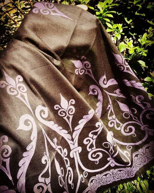 Soft light weight black scarf with purple 12th century print for a medieval experience all year long! Hand printed with my own hand carved stamps. New scarf, pre-washed, ready to wear & machine washable!
