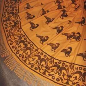 Wearable art in form of a soft & cozy orange scarf with 13th/14th century raven & fleur-de-lis print. Hand printed in black with my own hand carved stamps. New scarf, pre-washed, ready to wear & machine washable!