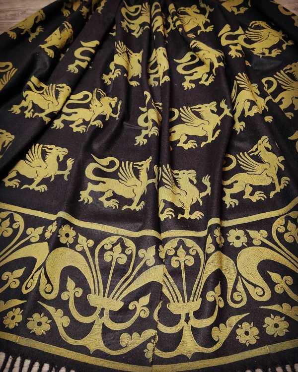 Wearable art in form of a soft & cozy black scarf with 13th century griffin & fleur-de-lis print. Hand printed in yellow with my own hand carved stamps. New scarf, pre-washed, ready to wear & machine washable!