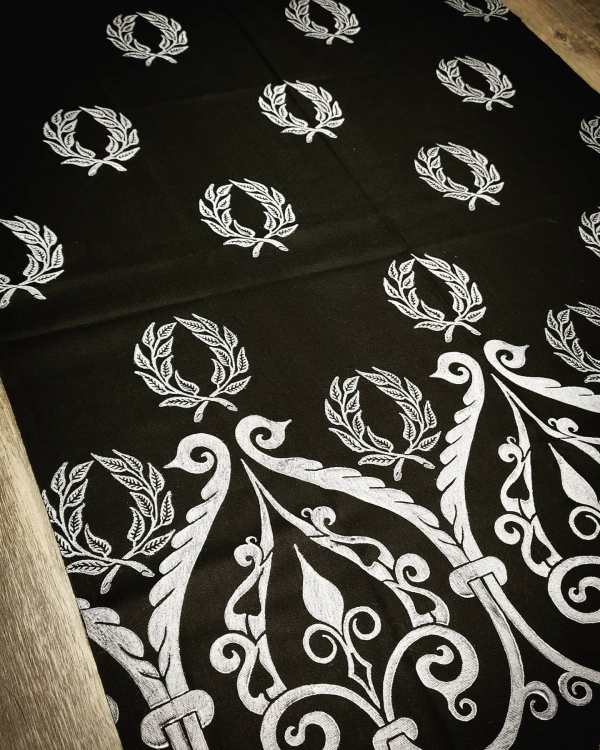 Soft lightweight black scarf with white laurel wreath & 12th century print for a medieval experience all year long! Hand printed with my own hand carved stamps. New scarf, pre-washed, ready to wear & machine washable!