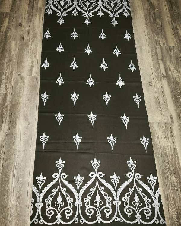 Soft light weight black scarf with white 12th century print for a medieval experience all year long! Hand printed with my own hand carved stamps. New scarf, pre-washed, ready to wear & machine washable!