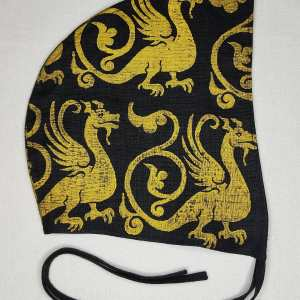 Medium black linen coif/arming cap made from lovely black linen fabric, handprinted in gold premium print with a hand carved 13th century inspired dragon stamp. Ready to wear, pre-washed fabric! The coif is machine washable!