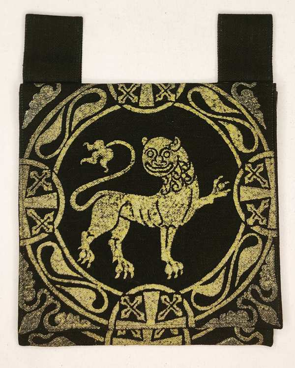 Belt pouch made from exquisite night black cotton Japanese selvedge bull denim, completely lined with gold colored fabric, hand printed with a hand carved 12th century inspired lion stamp in premium gold ink. New, ready to use & machine washable!