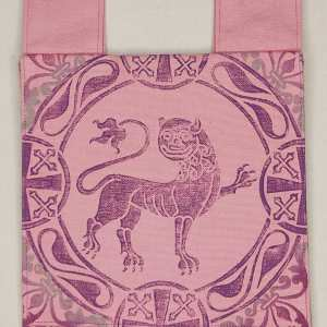 Belt pouch made from pink cotton canvas, completely lined, hand printed with a hand carved 12th century inspired lion stamp. New, ready to use & machine washable!