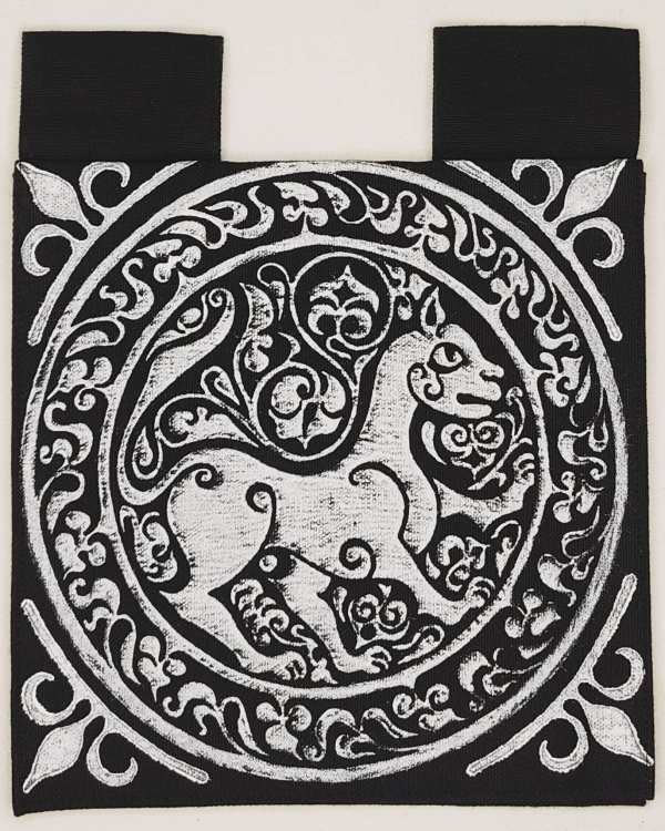 Belt pouch made from black cotton canvas, completely lined, hand printed with a hand carved 11th century middle eastern lioness stamp. New, ready to use & machine washable!