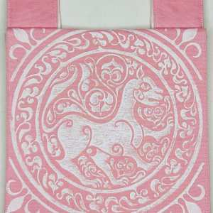 Belt pouch made from pink cotton canvas, completely lined, hand printed with a hand carved 11th century middle eastern lioness stamp. New, ready to use & machine washable!