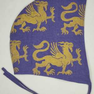 Large purple linen coif/arming cap made from lovely purple linen fabric, handprinted in gold premium print with a hand carved 13th century inspired griffin stamp. Ready to wear, pre-washed fabric! The coif is machine washable!