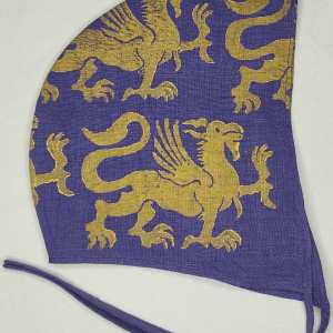 Medium purple linen coif/arming cap made from lovely purple linen fabric, handprinted in gold premium print with a hand carved 13th century inspired griffin stamp. Ready to wear, pre-washed fabric! The coif is machine washable!
